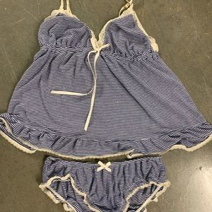 EBERJEY striped tank and panty set size medium